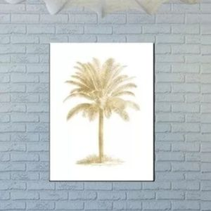 Bay Isle Home Palm Tree Gold on White Poster Art